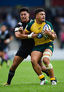 Australia centre Sione Tuipolotu during the World Rugby U20 Championship 5rd Place play-off  match Australia U20 -V- New Zealand U20 at The AJ Bell Stadium, Salford, Greater Manchester, England on Saturday, June  25  2016.(Steve Flynn/Image of Sport)