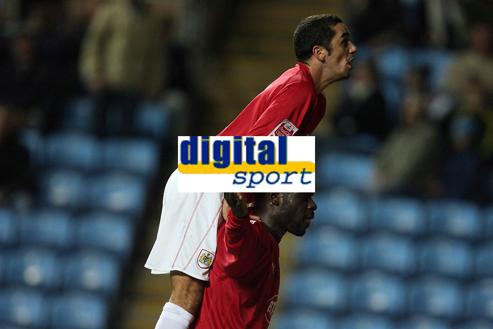 Photo: Rich Eaton.<br /> <br /> Coventry City v Bristol City. The FA Cup. 16/01/2007. Scott Murray top and Enoch Showunmi bottom celebrate Showunmi's goal to make the score 2-0 to Bristol