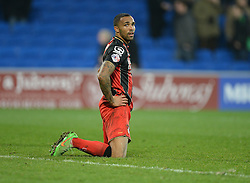 Bournemouth's Callum Wilson looks dejected after the final whistle. - Photo mandatory by-line: Alex James/JMP - Mobile: 07966 386802 - 17/03/2015 - SPORT - Football - Cardiff - Cardiff City Stadium - Cardiff City v AFC Bournemouth - Sky Bet Championship