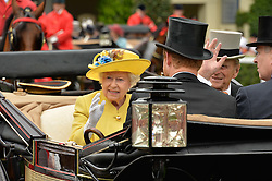 HM THE QUEEN and HRH The DUKE OF EDINBURGH at day one of the Royal Ascot 2016 Racing Festival at Ascot Racecourse, Berkshire on 14th June 2016.