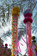Colourful paper streamers hang in the street during a Japanese festival in Liberdade, the Japanese district of Sao Paulo, which has the largest diasporah ouside of Japan. Sao Paulo, Brazil.