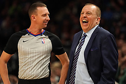 October 19, 2018 - Minneapolis, MN, USA - Minnesota Timberwolves head coach Tom Thibodeau jokes with official Justin Van Duyne in the first half on Friday, Oct. 19, 2018, at the Target Center in Minneapolis. (Credit Image: © Anthony Souffle/Minneapolis Star Tribune/TNS via ZUMA Wire)