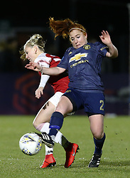 February 7, 2019 - London, England, United Kingdom - Martha Harris of Manchester United Women holds of Beth Mead of Arsenal .during FA Continental Tyres Cup Semi-Final match between Arsenal and Manchester United Women FC at Boredom Wood on 7 February 2019 in Borehamwood, England, UK. (Credit Image: © Action Foto Sport/NurPhoto via ZUMA Press)
