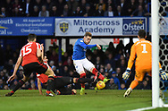 Portsmouth midfielder Ronan Curtis (11) scores their second goal during the EFL Sky Bet League 1 match between Portsmouth and Sunderland at Fratton Park, Portsmouth, England on 22 December 2018.