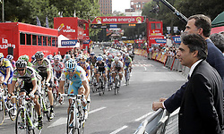 11.09.2011, Madrid,  ESP, LA VUELTA 2011, Finish, im Bild Felipe de Borbon, Prince of Asturias (r) and Albert Soler, Minister of Sports (2-r) watch the group during the stage of La Vuelta 2011 between Circuito del Jarama-RACE and Madrid.September 11,2011. EXPA Pictures © 2011, PhotoCredit: EXPA/ Alterphoto/ Paola Otero +++++ ATTENTION - OUT OF SPAIN/(ESP) +++++