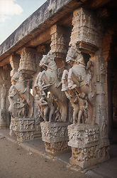 Temple at Tiruchirapalli; Tamil Nadu; India; with stone carvings featuring warriors and horses,
