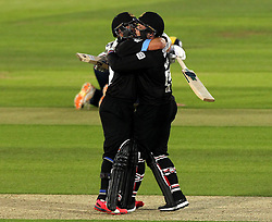 Sussex's Craig Cachopa and Sussex's Matt Machan embrace each other after seeing Sussex home to beat Hampshire - Photo mandatory by-line: Robbie Stephenson/JMP - Mobile: 07966 386802 - 19/06/2015 - SPORT - Cricket - Southampton - The Ageas Bowl - Hampshire v Sussex - Natwest T20 Blast