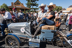 This is the end my friend, 3,400 miles from the Atlantic to the Pacific. The journey is over. Mike Carson and his 1914 Warrick 3-wheeler at the finish line of the Motorcycle Cannonball Race of the Century. Stage-15 ride from Palm Desert, CA to Carlsbad, CA. USA. Sunday September 25, 2016. Photography ©2016 Michael Lichter.