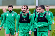 Christian Doidge (#9) of Hibernian FC and Stephen McGinn (#22) of Hibernian FC make their way to the pitches before the training session at Hibernian Training Centre, Ormiston, Scotland on 27 November 2020, ahead of their Betfred Cup match against Dundee.
