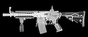 Toy imitation m-16 assault rifle under x-ray