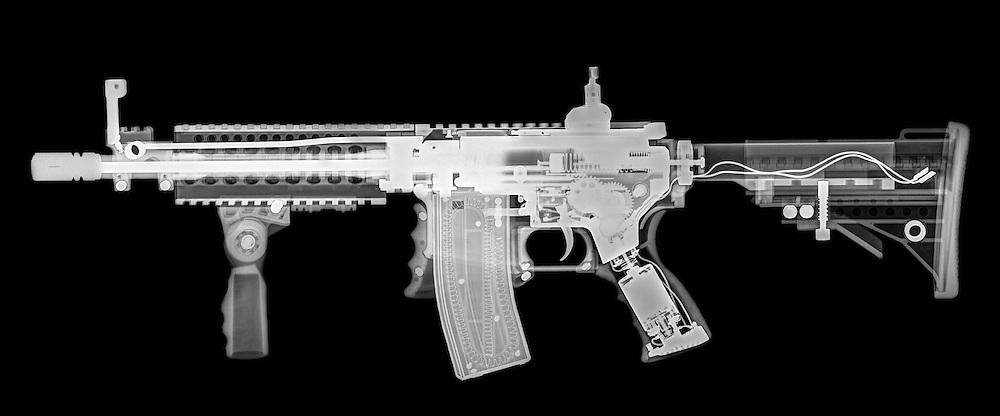 Toy imitation m-16 assault rifle under x-ray