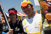 A man dressed as a duck promotes a restaurant at The Ashigara River festival, Kintaro duck-race in Matsuda, Kanagawa, Japan April 25th 2010