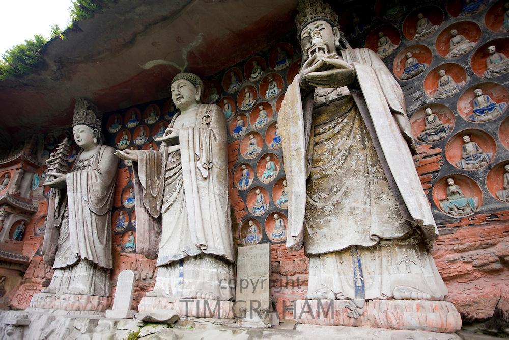 Dazu rock carvings of Buddha of Wisdom, Buddha of Great Sunlight, Buddha of Mercy, Mount Baoding, China