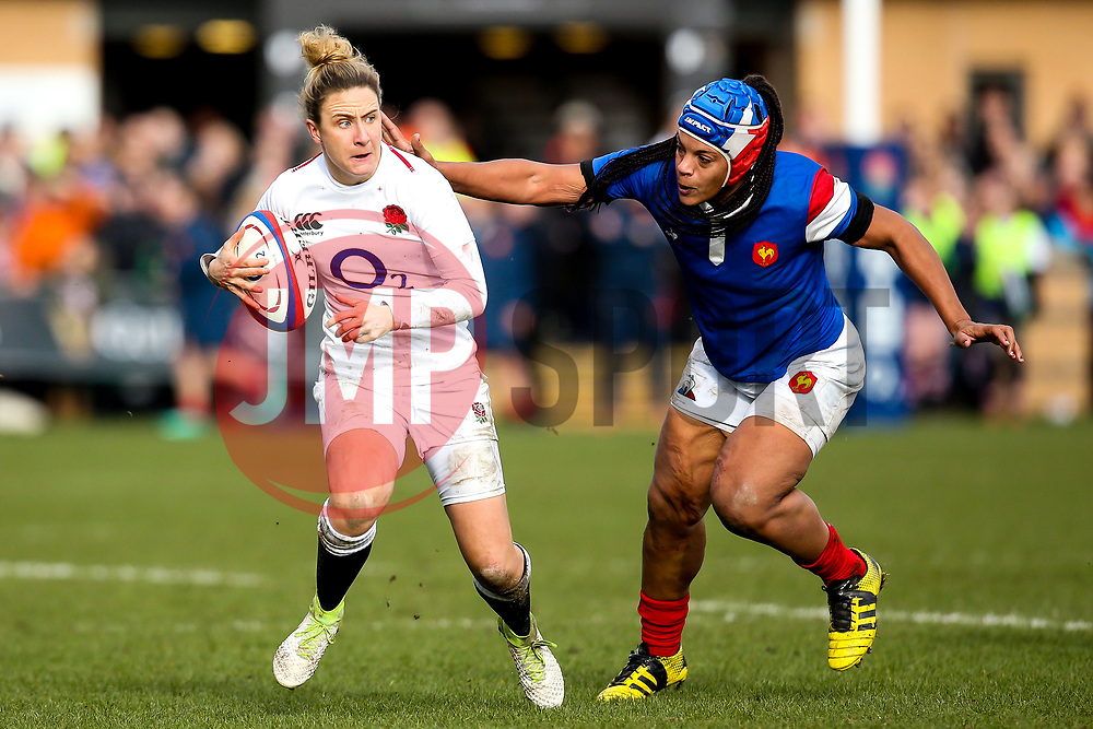 Sarah McKenna of England Women goes past Safi N'Diaye of France Women - Mandatory by-line: Robbie Stephenson/JMP - 10/02/2019 - RUGBY - Castle Park - Doncaster, England - England Women v France Women - Women's Six Nations