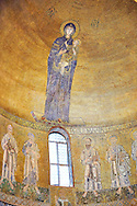 Byzantine Mosaics of the Virgin Mary and Child above the altar of the Cathedral of Santa Maria Assunta (Cattedrale di Santa Maria Assunta) is a basilica church on the island of Torcello, Venice, northern Italy. It is a notable example of Venetian-Byzantine architecture, one of the most ancient religious edifices in the Veneto.