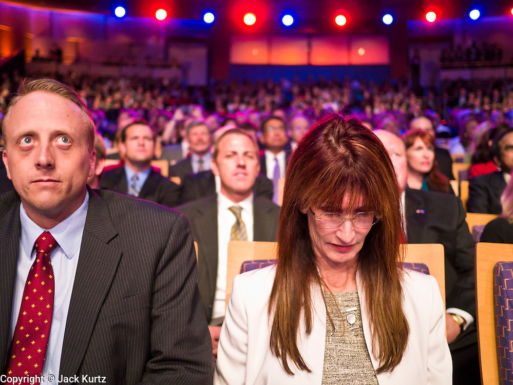 """22 FEBRUARY 2012 - MESA, AZ:      Spectators at the Arizona Republican Presidential Debate in the Mesa Arts Center in Mesa, AZ, Wednesday. It is the last debate before the Michigan and Arizona Republican primaries on Feb. 28 and """"Super Tuesday"""" on March 6. Attendance was limited to highly placed members of the Arizona Republican party.       PHOTO BY JACK KURTZ"""
