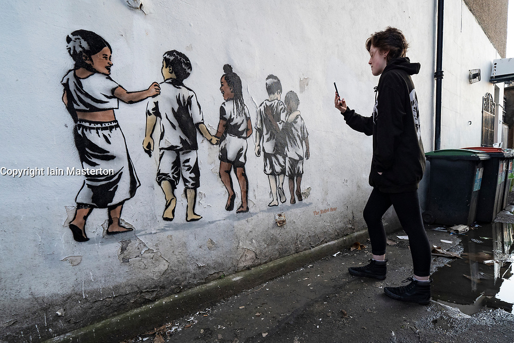 Edinburgh, Scotland, UK. 5 July, 2020. A new mural by the street artist The Rebel Bear has appeared on a building in Edinburgh. The new anti-racism mural shows children of various ethnicities together. Iain Masterton/Alamy Live News