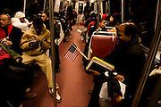 The Inauguration of President Barack Obama. Washington DC, January 20, 2009. American Flags on the DC Metro.