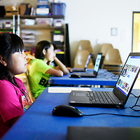 Serenity Henio, 8, during a YouTube class taught by Markos Chavez, the technology trainer at the library, Wednesday July 11 at the children's branch of the Octavia Fellin Public Library.