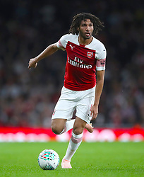 """Arsenal's Mohamed Elneny during the Carabao Cup, Third Round match at the Emirates Stadium, London. PRESS ASSOCIATION Photo. Picture date: Wednesday September 26, 2018. See PA story SOCCER Arsenal. Photo credit should read: Nick Potts/PA Wire. RESTRICTIONS: EDITORIAL USE ONLY No use with unauthorised audio, video, data, fixture lists, club/league logos or """"live"""" services. Online in-match use limited to 120 images, no video emulation. No use in betting, games or single club/league/player publications."""