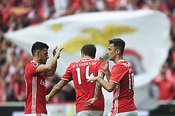 LISBON, May 14, 2017  Benfica's players celebrate a goal during the Portuguese League football match between SL Benfica and Vitoria Guimaraes SC in Lisbon on May 13, 2017. Benfica won 5-0. (Credit Image: © Zhang Liyun/Xinhua via ZUMA Wire)