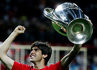 AC Milan midfielder Ricardo Kaka celebrates his Champions League at the San Siro stadium in Milan, 25 may 2007. AC Milan beat Liverpool 2-1 in the final match of the Champions League last Tuesday. INSIDE PHOTO / Paco SERINELLI