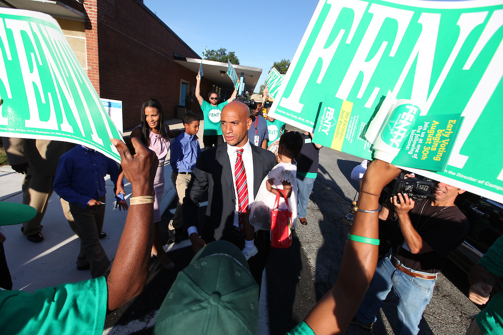 Washington, Sept. 14, 2010 - Primary Election Day - Washington Mayor Adrian Fenty rallies supporters after voting at Melvin Sharpe Health School in Washington on Tuesday, Sept. 14, 2010.