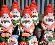 Colourful garden gnomes lined up for sale, UK