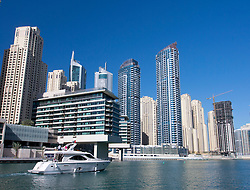 View of modern high-rise apartment buildings in Marina at New Dubai in United Arab Emirates