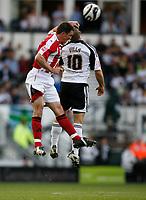 Photo: Steve Bond/Richard Lane Photography. Derby County v Sheffield United. Coca-Cola Championship. 13/09/2008. Chris Morgan (L) wins an aeriel duel with Emanuel Villa (R)