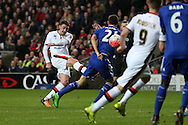 Darren Potter of MK Dons shoots and scores  his teams 1st goal  to make it 1-1. The Emirates FA cup, 4th round match, MK Dons v Chelsea at the Stadium MK in Milton Keynes on Sunday 31st January 2016.<br /> pic by John Patrick Fletcher, Andrew Orchard sports photography.