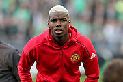 Paul Pogba Midfielder of Manchester United in warm up during the Europa League match between Saint-Etienne and Manchester United at Stade Geoffroy Guichard, Saint-Etienne, France on 22 February 2017. Photo by Phil Duncan.
