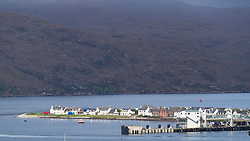 View of Ullapool on the North Coast 500 tourist motoring route in northern Scotland, UK