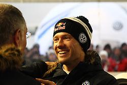 08.02.2014, Hagfors, Karlstad, SWE, FIA, WRC, Schweden Rallye, Tag 4, im Bild Sebastien Ogier (Volkswagen Motorsport/Polo R WRC), Portrait, lacht, laughed // during Day 4 of the FIA WRC Sweden Rally at the Hagfors in Karlstad, Sweden on 2014/02/08. EXPA Pictures © 2014, PhotoCredit: EXPA/ Eibner-Pressefoto/ Bermel<br /> <br /> *****ATTENTION - OUT of GER*****