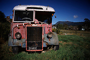 An old defunct Leyland Tiger Bus, formerly in service with Wellington Transport, spending its old days in a backyard in Waikawa Bay, near Picton. The photographer was supposed to live in this old Bus - but failed to refurbish it.