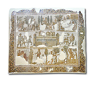 Early 5th century AD Roman mosaic depiction of the farm of Seigneur Julius . From Cathage, Tunisia.  The Bardo Museum, Tunis, Tunisia. White background .<br /> <br /> If you prefer to buy from our ALAMY PHOTO LIBRARY  Collection visit : https://www.alamy.com/portfolio/paul-williams-funkystock/roman-mosaic.html - Type -   Bardo    - into the LOWER SEARCH WITHIN GALLERY box. Refine search by adding background colour, place, museum etc<br /> <br /> Visit our ROMAN MOSAIC PHOTO COLLECTIONS for more photos to download  as wall art prints https://funkystock.photoshelter.com/gallery-collection/Roman-Mosaics-Art-Pictures-Images/C0000LcfNel7FpLI