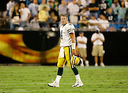03 October 2005: Green Bay Packers quarterback Brett Favre walks off the field after throwing an interception during the second quarter of their game against the Carolina Panthers at Bank of America Stadium in Charlotte, N.C..(Steve Apps-State Journal)