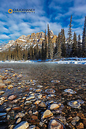 Castle Mountain along the Bow River in winter in Banff National Park, Alberta, Canada