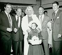 1959 (L to R) Mickey Hargitay, ?, Jayne Mansfield, daughter, Jayne-Marie, Harry Sugarman & Ronald Reagan at the Santa Claus Lane Parade.