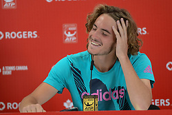 August 10, 2018 - Toronto, Ontario, Canada - STEFANOS TSITSIPAS of Greece speaks with the press after his quarterfinal match vs. A. Zverev in the Rogers Cup tennis tournament in Toronto Canada. (Credit Image: © Christopher Levy via ZUMA Wire)