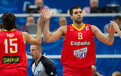 Felipe Reyes of Spain #9 during basketball game between National basketball teams of France and Spain at FIBA Europe Eurobasket Lithuania 2011, on September 11, 2011, in Siemens Arena,  Vilnius, Lithuania.  (Photo by Vid Ponikvar / Sportida)