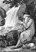 Jean-Jacques Rousseau (1712-1778) contemplating the natural beauty of Switzerland. French political author, educationalist and philosopher. Engraving 1787.