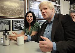 Boris Johnson and his wife Marina campaign at Billingsgate Market, London.