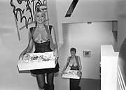 Cigarette girls, Tom Wesselman art opening, 1988.