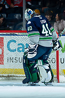 KELOWNA, BC - MARCH 6: Blake Lyda #40 of the Seattle Thunderbirds takes over the net after a goalie change against the Kelowna Rockets at Prospera Place on March 6, 2020 in Kelowna, Canada. (Photo by Marissa Baecker/Shoot the Breeze)