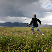 A young teenager makes his way to the Owens River near Benton Crossing in the Eastern Sierras.