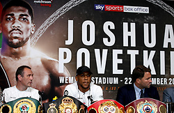 Anthony Joshua (centre) during a press conference at Wembley Stadium.