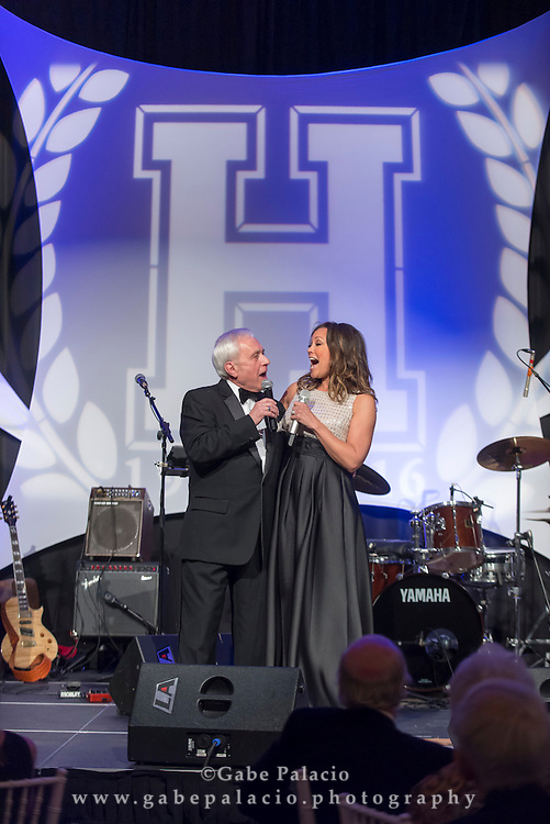 Headmaster Barry Fenstermacher and Broadway Star Vanessa Williams perform duet during the Harvey Centennial Ball: A Night to Remember at the Harvey School on April 16, 2016. (photo by Gabe Palacio)