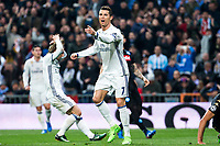 Cristiano Ronaldo of Real Madrid reacts  during the match of Champions League between Real Madrid and SSC Napoli  at Santiago Bernabeu Stadium in Madrid, Spain. February 15, 2017. (ALTERPHOTOS)