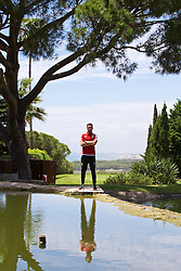 VALE DO LOBO, PORTUGAL - Wednesday, May 25, 2016: Wales' Aaron Ramsey during day two of the pre-UEFA Euro 2016 training camp at the Vale Do Lobo resort in Portugal. (Pic by David Rawcliffe/Propaganda)